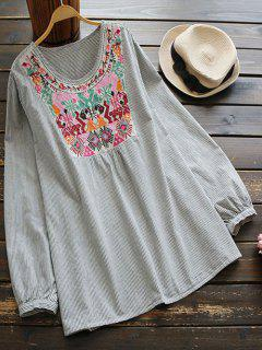 Embroidered Bib Striped Top - Grey And White