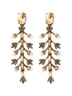 Pendants D'oreilles En Forme D'arbre Ornés De Fausses Perles Synthétiques Classiques - Or