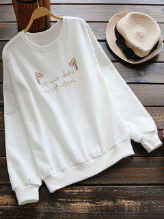 Sweat-shirt Brodé Et Velouté - Blanc