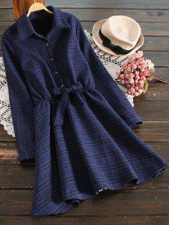 Fleece Lining Plaid Shirt Dress - Deep Blue M