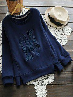 Fish Embroidered Fleece Lined Sweatshirt - Blue L