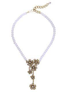 Collar Cristal Falso Brillantes Y Pendiente Floral   - Blanco