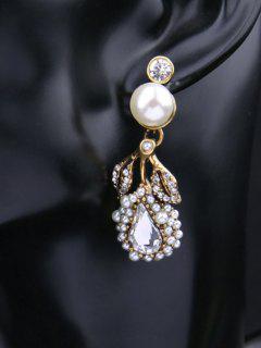 Boucle D'oreille En Perle Atificielle Et Faux Diamant Classique  - Or