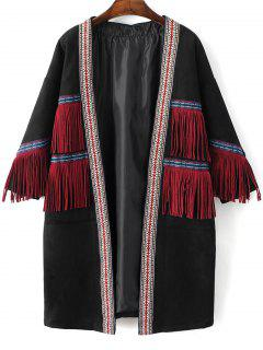 Faux Suede Fringe Coat - Black