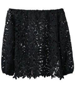 Off Shoulder Openwork Lace Hook Top - Black M