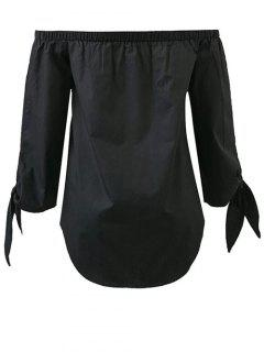 Tied Sleeve Off Shoulder Blouse - Black S