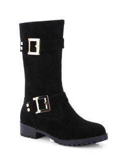 Bota Media Tacón Plano Doble Hebilla Y Zipper - Negro 37