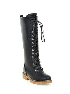 Retro PU Leather Lace Up Mid Calf Boots - Black 38