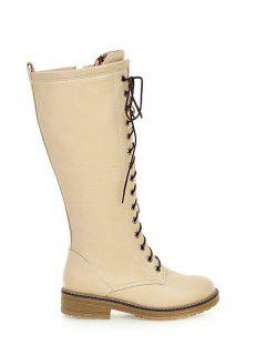 Retro PU Leather Lace Up Mid Calf Boots - Off-white 38