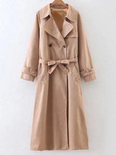 Double-Breasted Belted Maxi Peacoat - Camel S