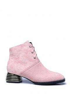 Suqare Toe Lace Up Splicing Ankle Boots - Pink 38