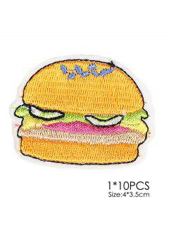 10 PCS Hamburger Design Embroidered Patches - Red