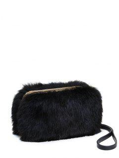 Zip Around Metal Trimmed Fuzzy Evening Bag - Black