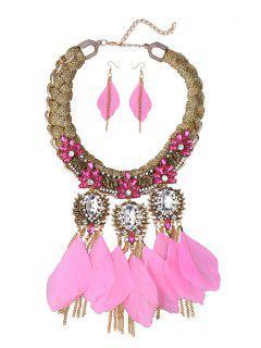 Boho Feathers Necklace Set - Pink