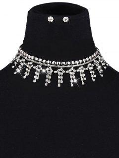 Collier Suite En Strass Frange Rivet  - Argent