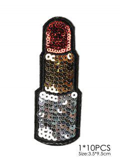 10 Piezas Parches Bordados Diseño Lápiz Labial - Negro