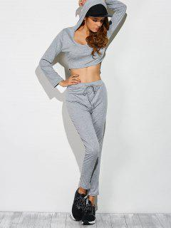 Long Sleeve Crop Top And Pants Sweat Suit - Gray S