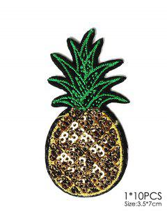 10 PCS Pineapple Design Embroidered Patches - Yellow