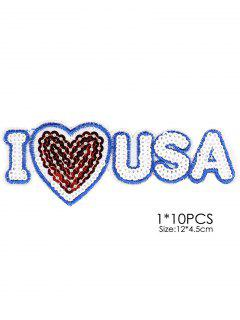 10 PCS USA Design Embroidered Patches - White