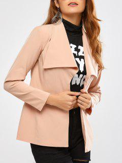 Back Slit Drape Front Blazer - Apricot Xs