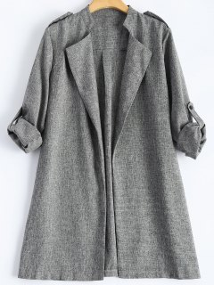 Plus Size Trench Coat - Gray Xl