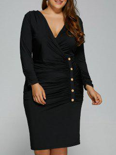 Button Decorated Surplice Plus Size Dress - Black Xl