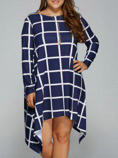 Plus Size Plaid Asymmetric Dress - Blue And White 3xl