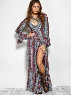Printed High Slit Crossover Ruffle Bohemian Dress - M