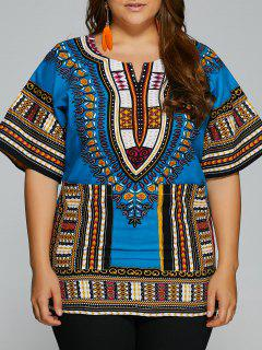 Print Plus Size Bluse - Azurblau  S
