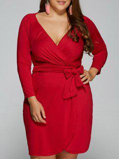 Vestido Talla Extra Envolvente Transparente Cuello V Largo - Rojo L