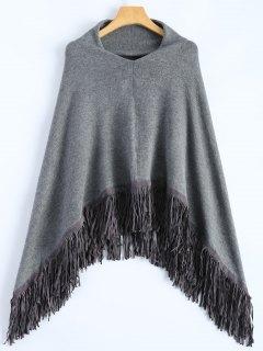 Fringed Hankerchief Hem Knit Poncho - Gray