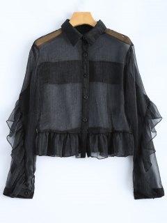 Chemise  Fine Avec Volanté - Noir S