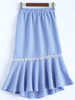 Peplum Hem Checked Midi Skirt - Blue And White 2xl