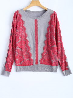 Lace Applique Sweater - Gray S