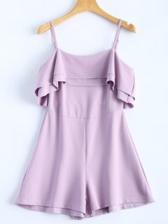 Cami Ruffles Overlay Romper - Light Purple S