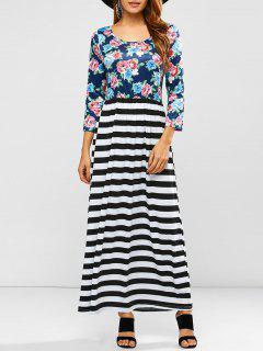 Floral Stripe Print Maxi Dress - S