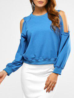 Cold Shoulder Cropped Sweatshirt - Azure L