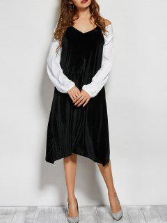 Vestido Midi Suelto Camí Terciopelo - Negro