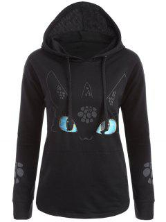 Vivid Cartoon Print Hoodie - Black L