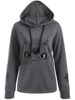 Vivid Cartoon Print Hoodie - Gray S
