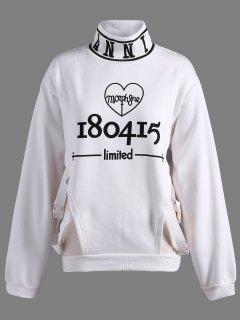 Letter Print Cutout Sweatshirt - White