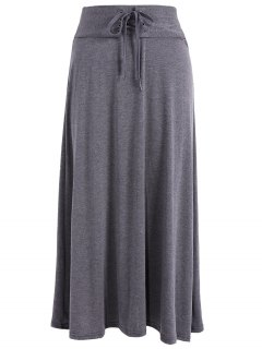 Lace-Up Maxi Skirt - Deep Gray