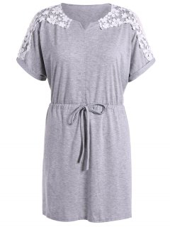 Drawstring Crochet Flower Spliced Dress - Light Gray M