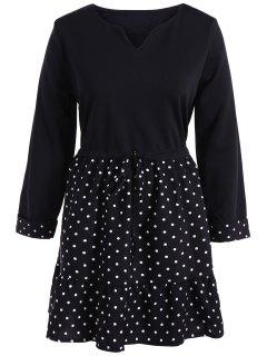 Plus Size Polka Dot Splicing Dress - Black Xl