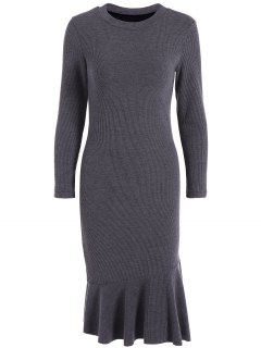Mermaid Sweater Dress - Deep Gray 3xl
