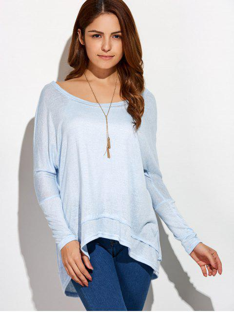 hot High Low Oversized Tee - LIGHT BLUE XL Mobile