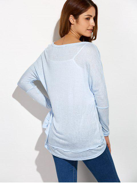 Haute Taille basse plus Tee - Bleu clair S Mobile