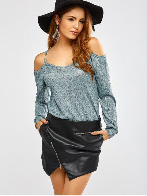 shops Cold Shoulder Long Sleeves T-Shirt for Women - GREEN S Mobile