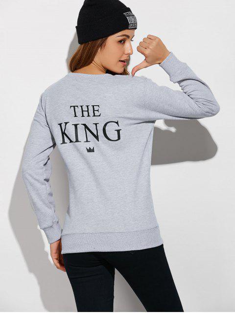 Paar Buchstabe Sweatshirt - Grau S Mobile
