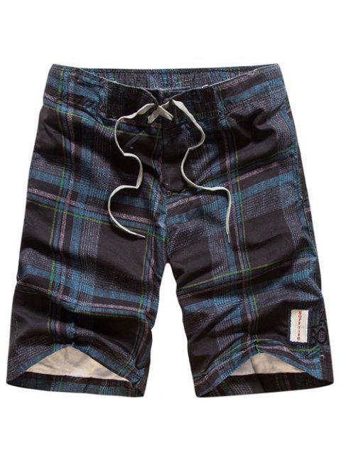 Tartan Muster Schnüren Gerades Bein Kurze Hose - Cadetblue XL Mobile